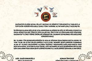Gaziantep Sanayi Odası 25 Aralık mesajı